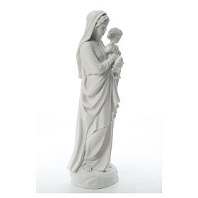 Virgin Mary and baby Jesus in reconstituted Carrara Marble, 85cm s12