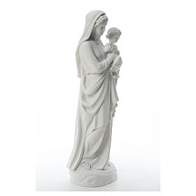 Virgin Mary and baby Jesus in reconstituted Carrara Marble, 85cm s4