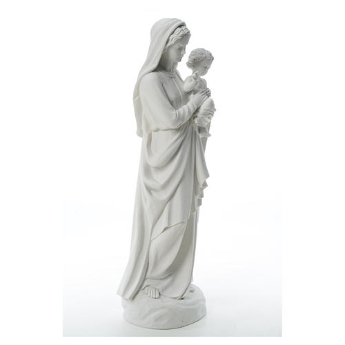 Virgin Mary and baby Jesus in reconstituted Carrara Marble, 85cm 12