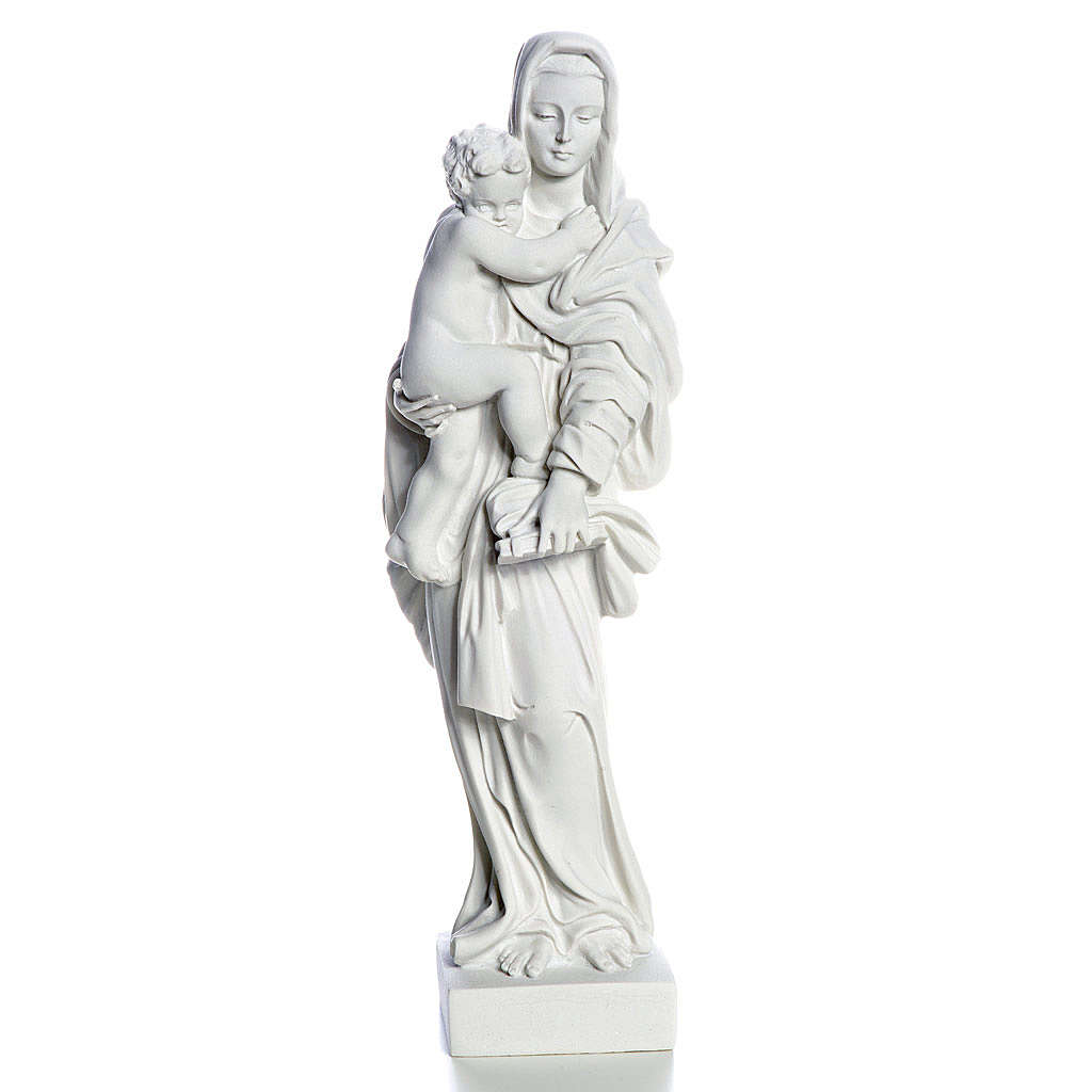 Vierge à l'enfant marbre blanc 25 cm 4