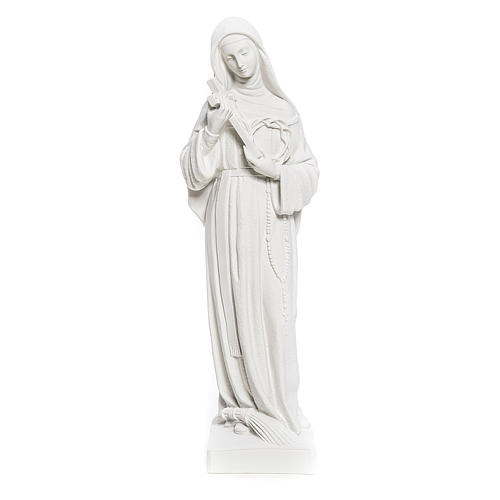 Statue Sainte Rita poudre de marbre blanc 62 cm 1