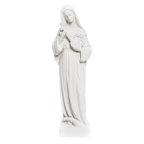 Statua Santa Rita polvere di marmo bianco 62 cm 5