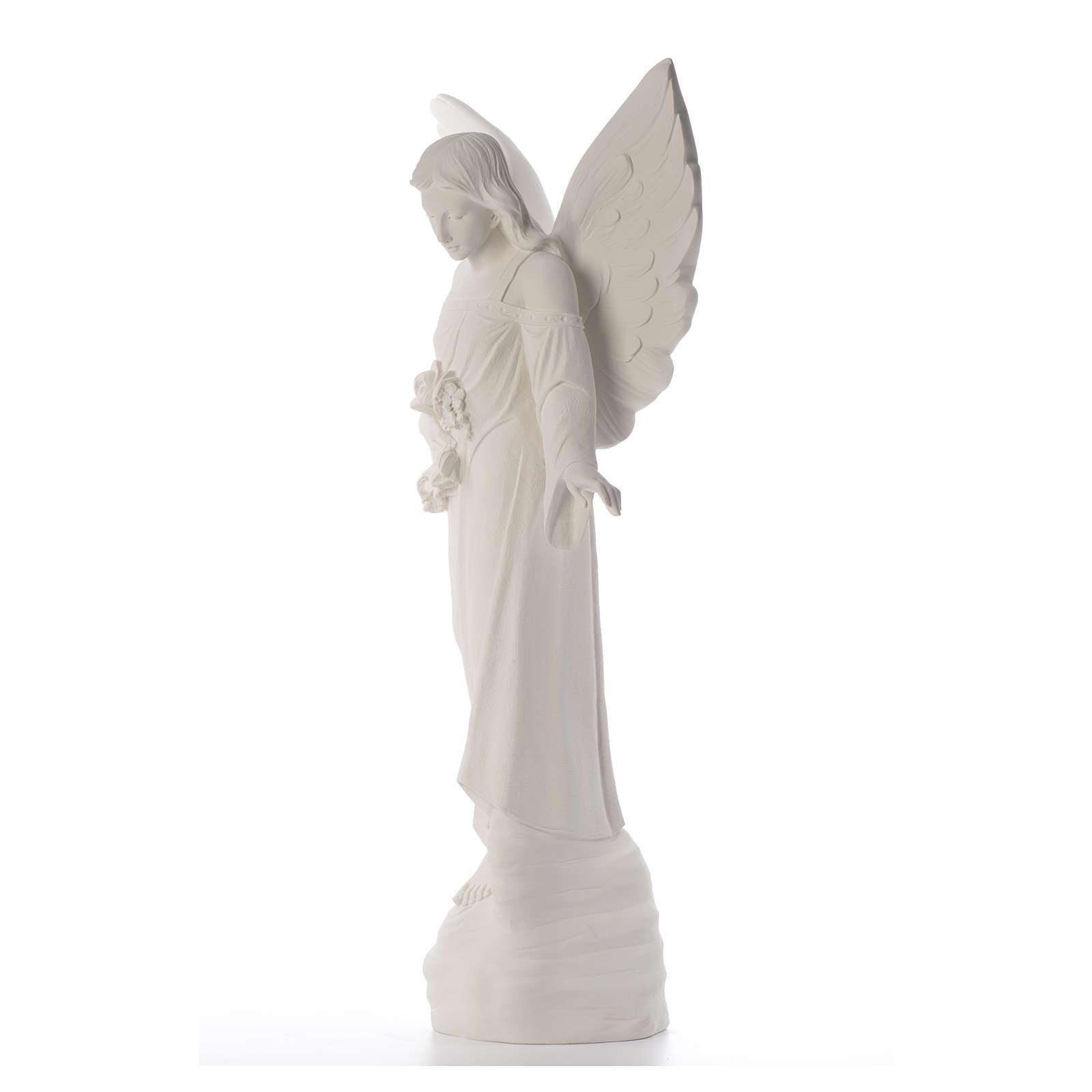 Ángel con flores 100cm mármol blanco 4