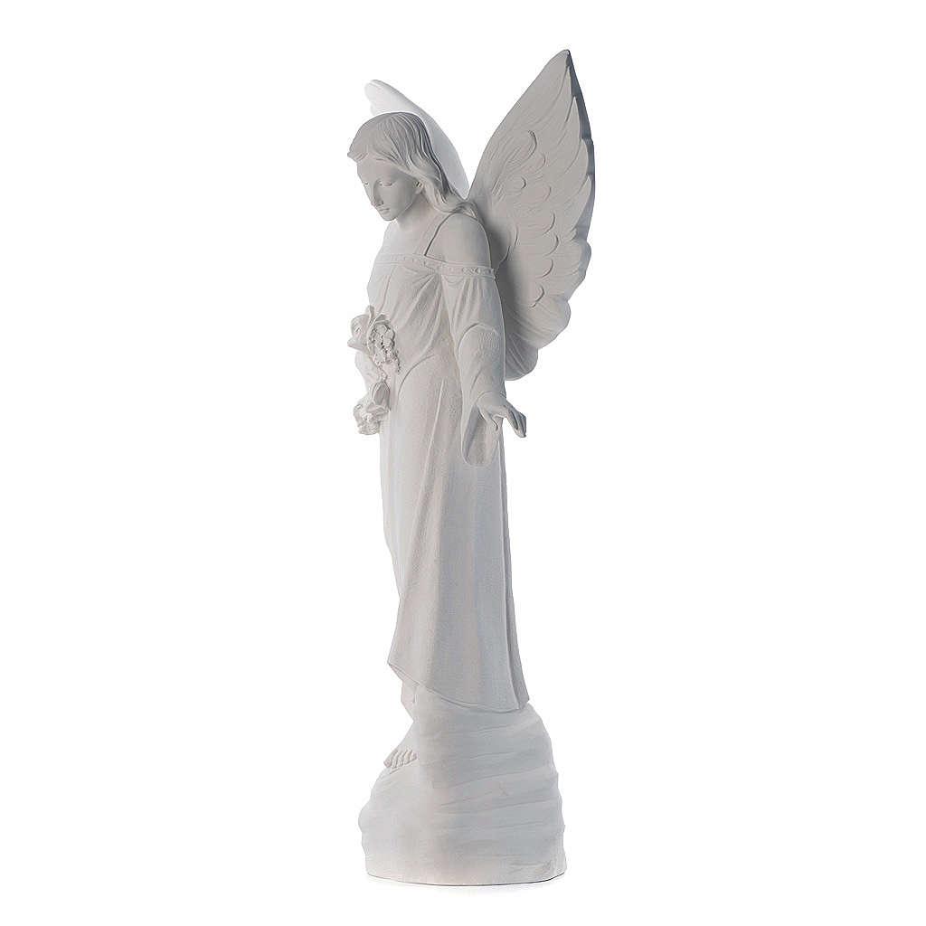 Angelo con fiori cm 100 marmo bianco 4
