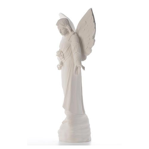 Angelo con fiori cm 100 marmo bianco 6
