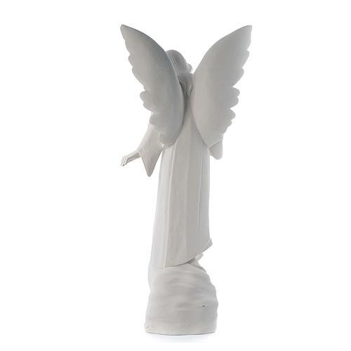 Angelo con fiori cm 100 marmo bianco 3