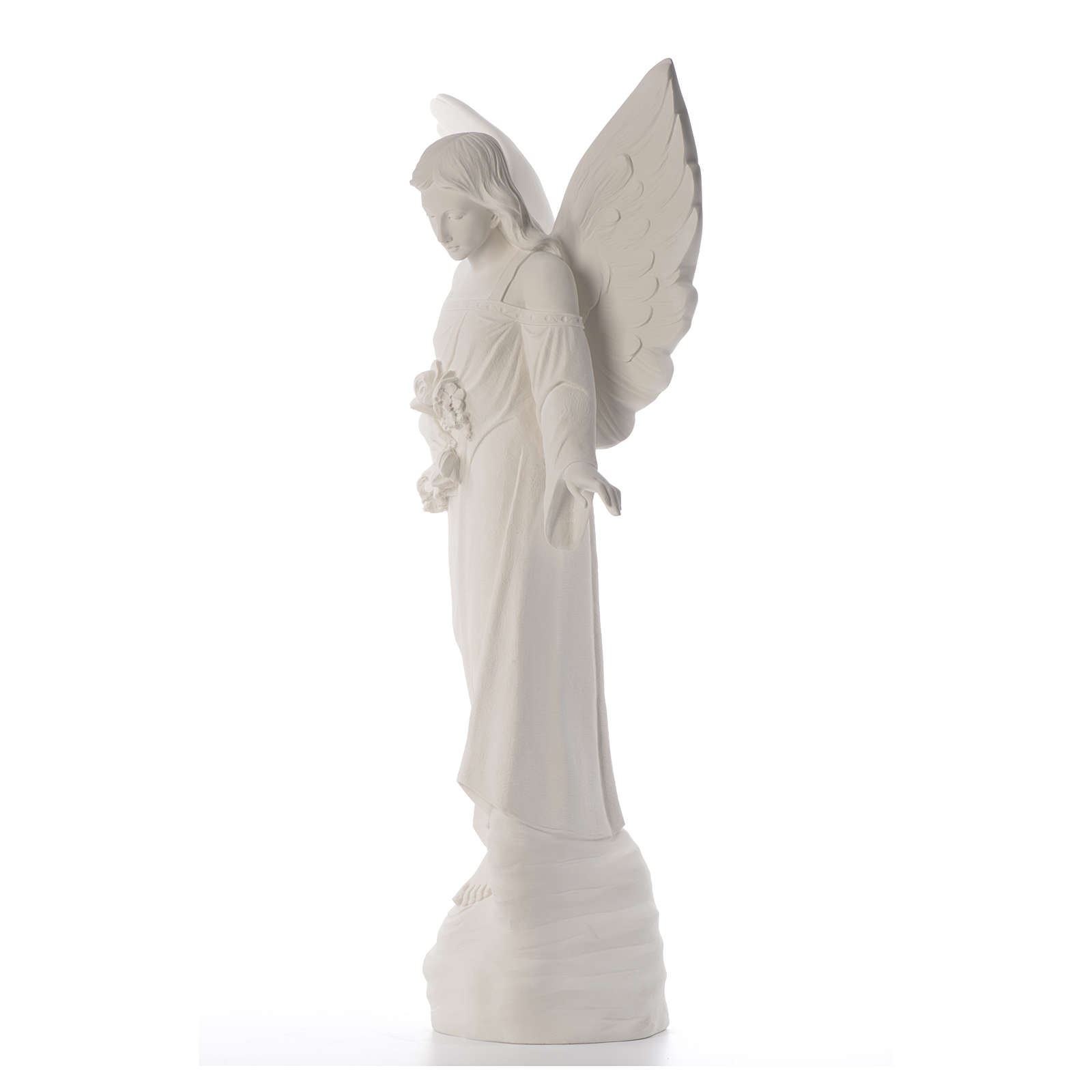 Angel with flowers in composite marble, 100 cm 4