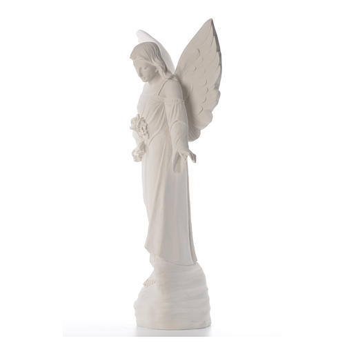 Angel with flowers in composite marble, 100 cm 6