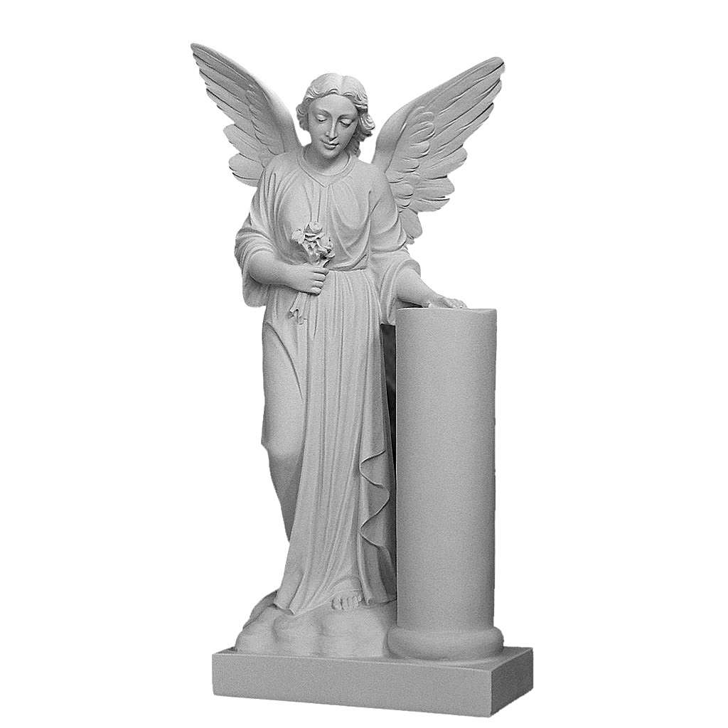 Angelo con colonna cm 90 marmo bianco 4