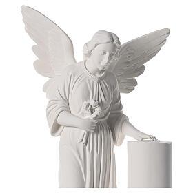 Angelo con colonna cm 90 marmo bianco