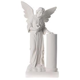 Anjo com coluna 90 cm mármore branco