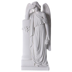 Imágenes en polvo de mármol de Carrara: Ángel con columna mármol blanco 85-110 cm