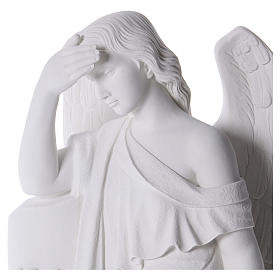 Angelo con colonna marmo bianco 85-110 cm