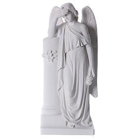 Anjo com coluna mármore branco 85-110 cm