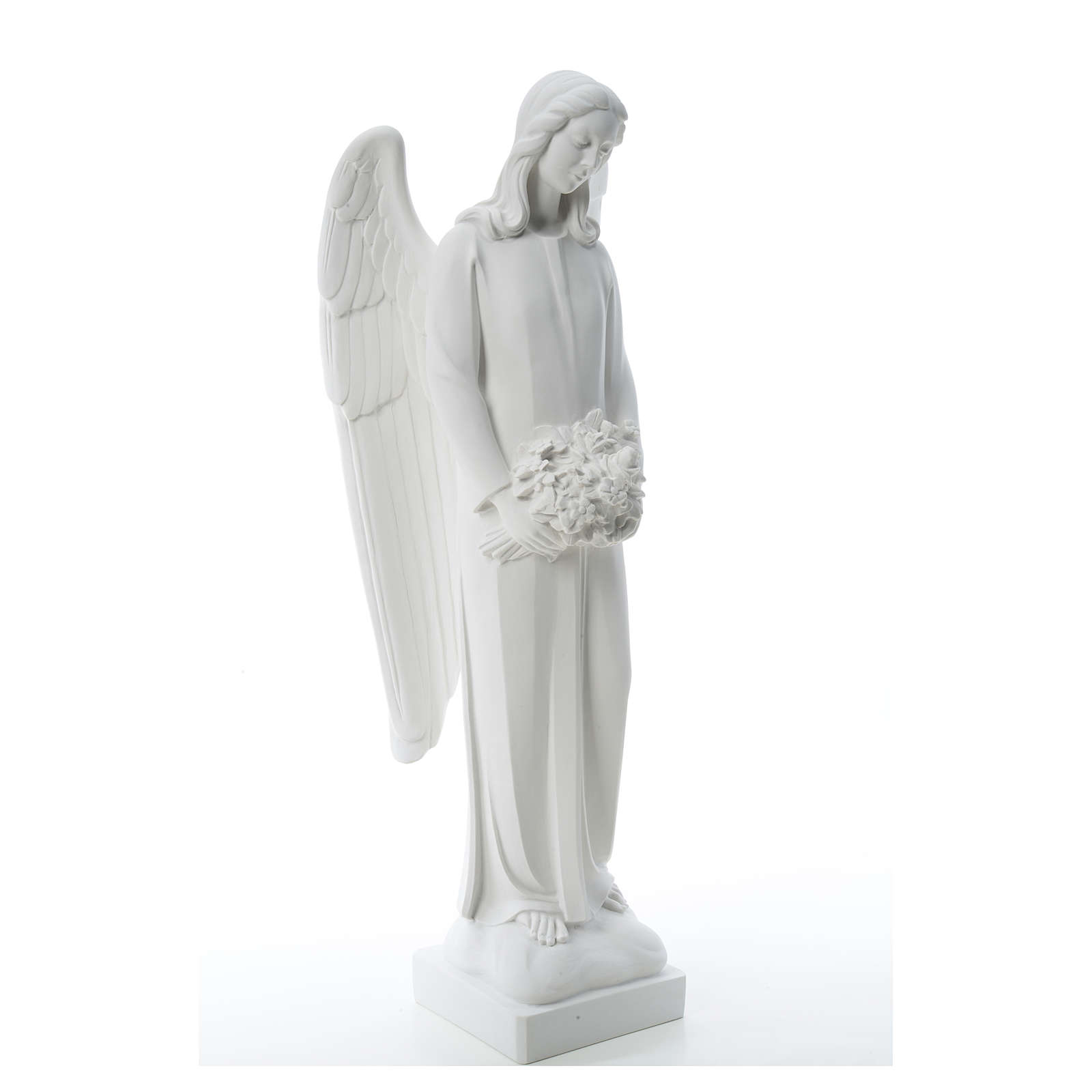 Ángel con ramo de flore 80cm mármol 4