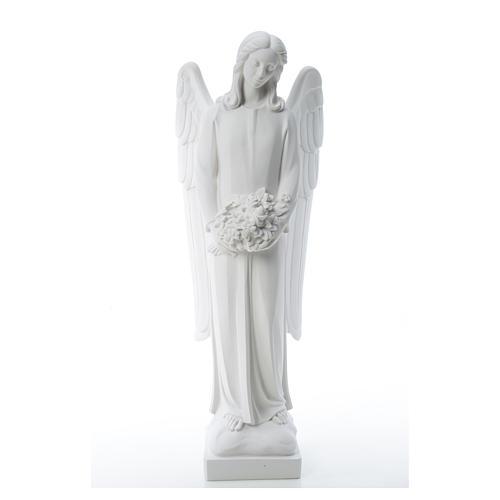 Ángel con ramo de flore 80cm mármol 5