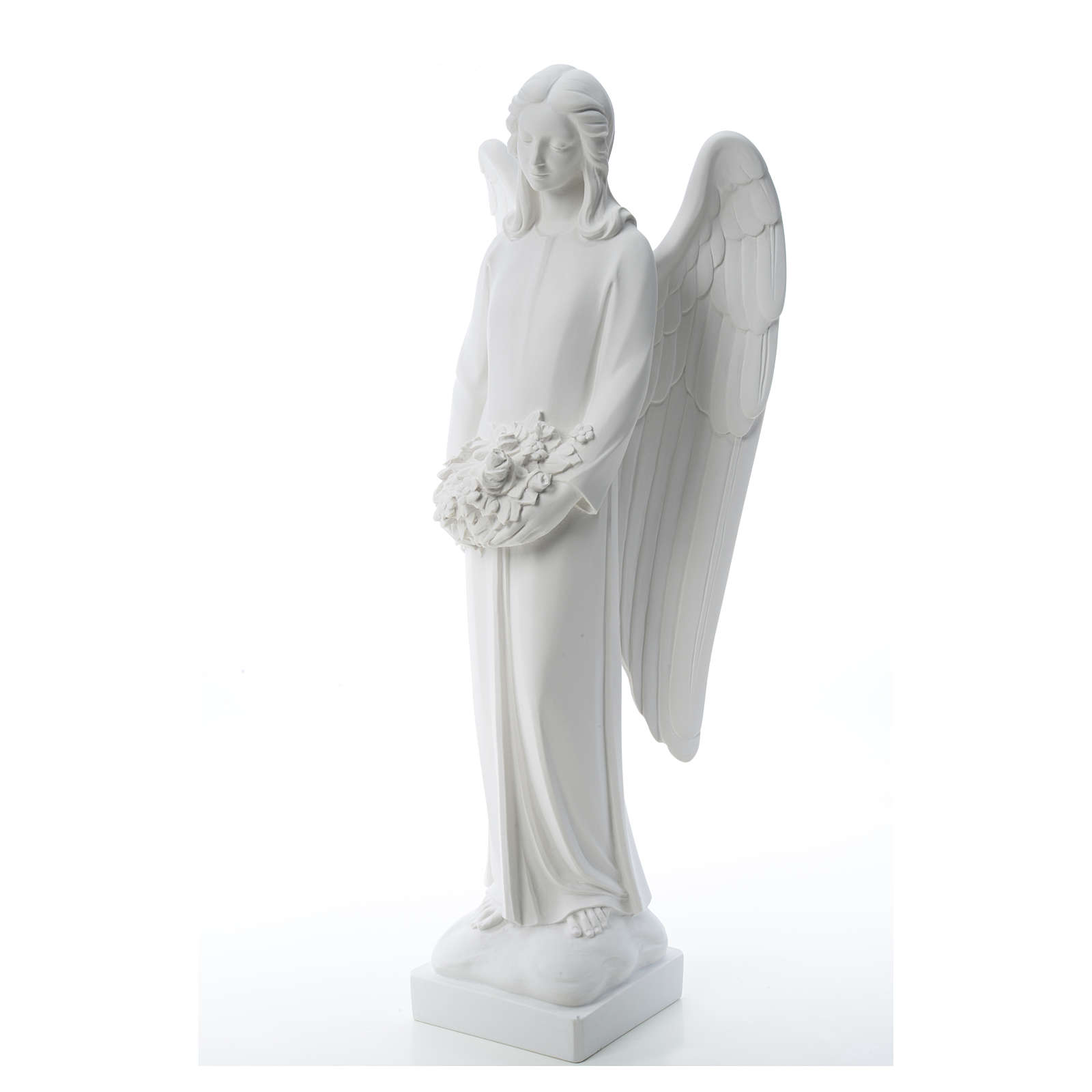 Angel with flowers in reconstituted white Carrara marble 31,5in 4