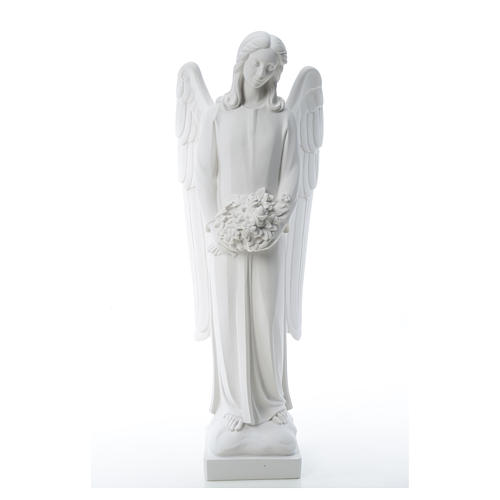 Angel with flowers in reconstituted white Carrara marble 31,5in 5