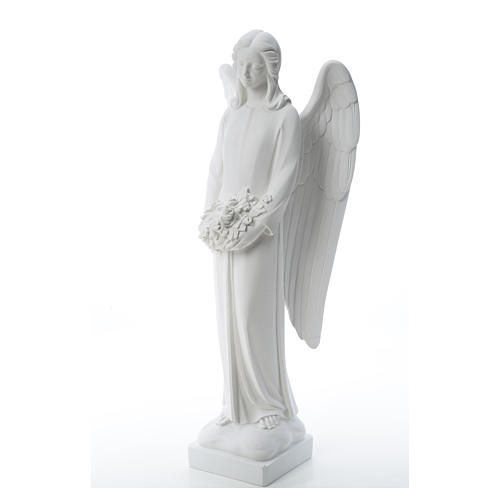 Angel with flowers in reconstituted white Carrara marble 31,5in 6