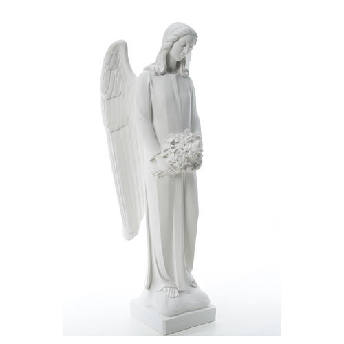 Angel with flowers in reconstituted white Carrara marble 31,5in 8
