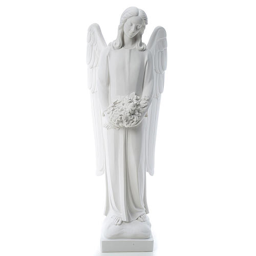 Angel with flowers in reconstituted white Carrara marble 31,5in 1