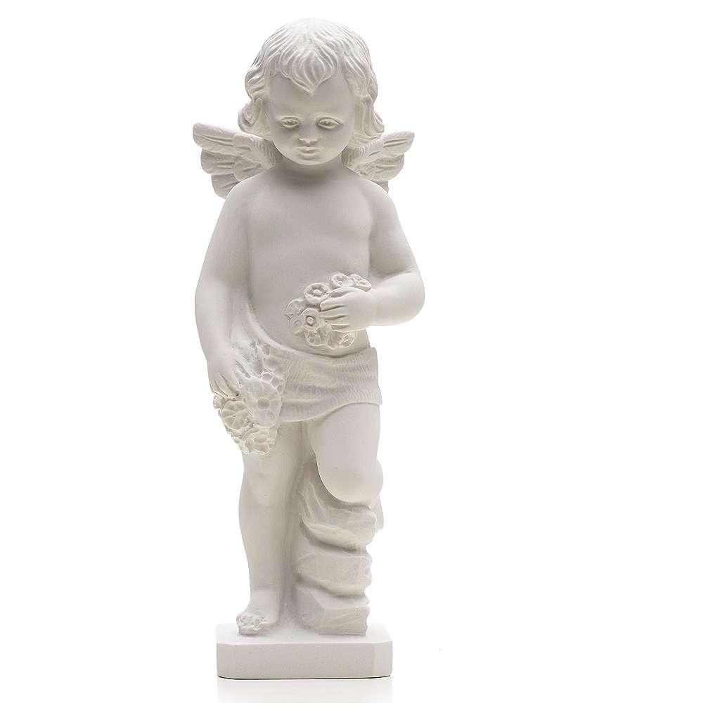 Statue Ange avec fleurs marbre reconstitué 25-30 cm 4