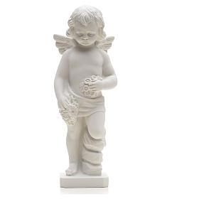 Statue Ange avec fleurs marbre reconstitué 25-30 cm s3