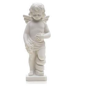 Statue Ange avec fleurs marbre reconstitué 25-30 cm s1