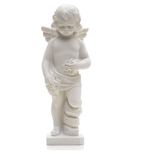 Statue Ange avec fleurs marbre reconstitué 25-30 cm 3