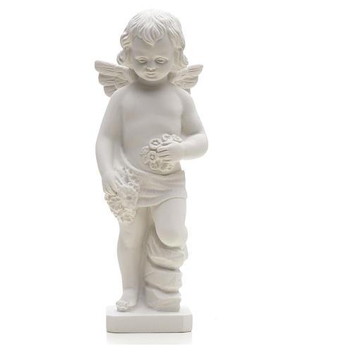 Statue Ange avec fleurs marbre reconstitué 25-30 cm 1