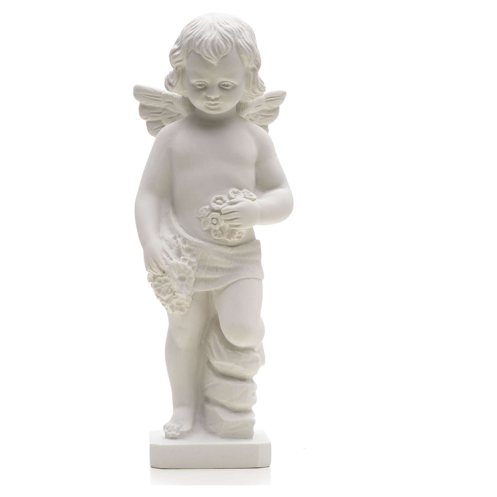 Angel with flowers in reconstituted white marble 25-30 cm 4