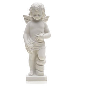 Angel with flowers in reconstituted white marble 25-30 cm s3