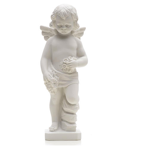 Angel with flowers in reconstituted white marble 25-30 cm 3