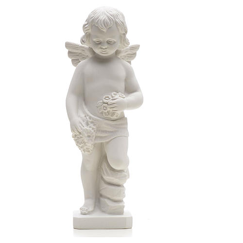 Angel with flowers in reconstituted white marble 25-30 cm 1