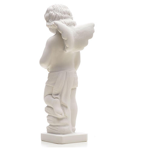Angel with flowers in reconstituted white marble 25-30 cm 2