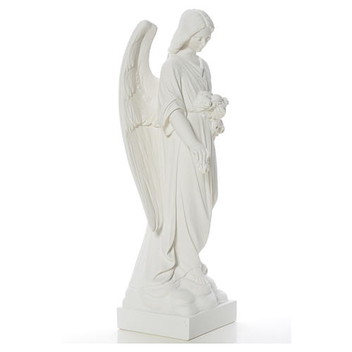Angel and flowers in reconstituted Carrara marble 40-60 cm 8
