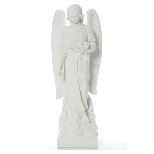 Gettafiori angelo marmo bianco di Carrara 40-60 cm 5