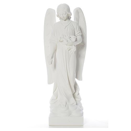 Gettafiori angelo marmo bianco di Carrara 40-60 cm 1