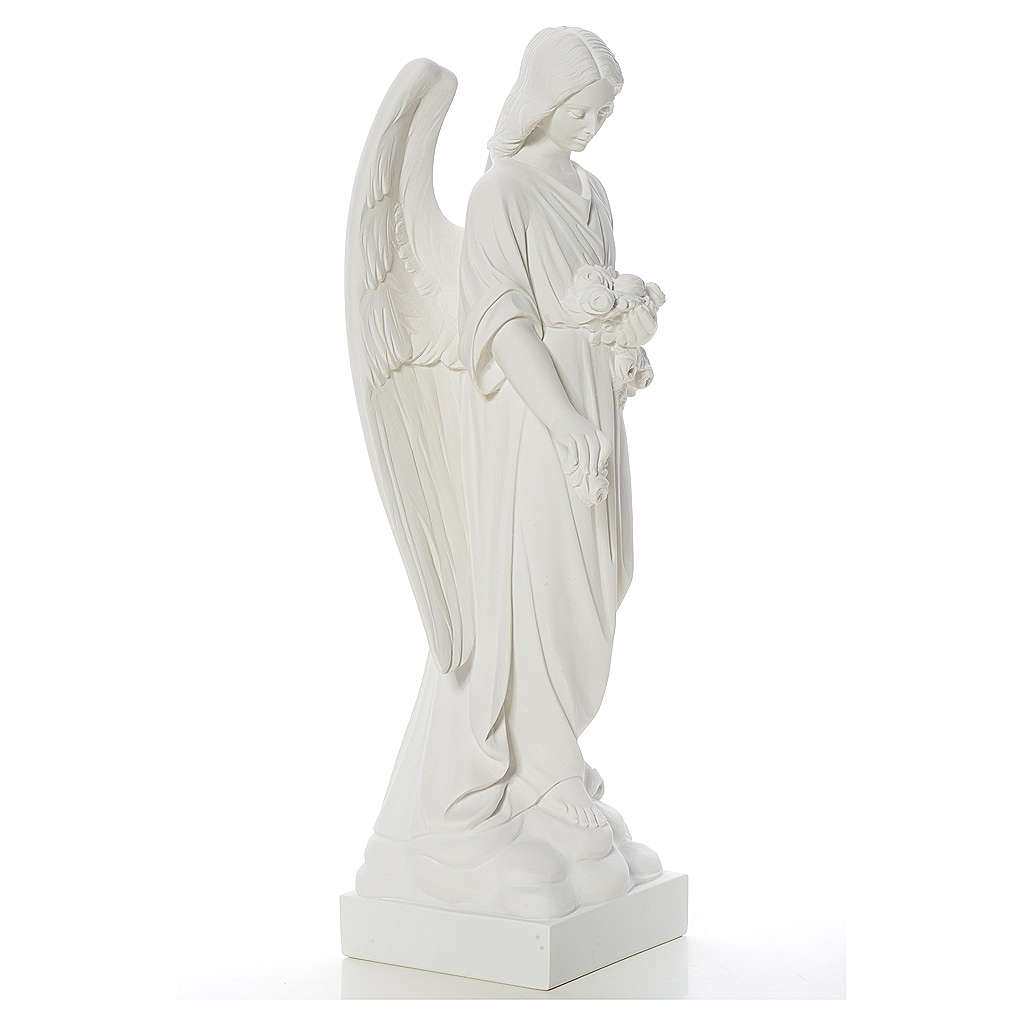 Angel and flowers in composite Carrara marble 40-60 cm 4
