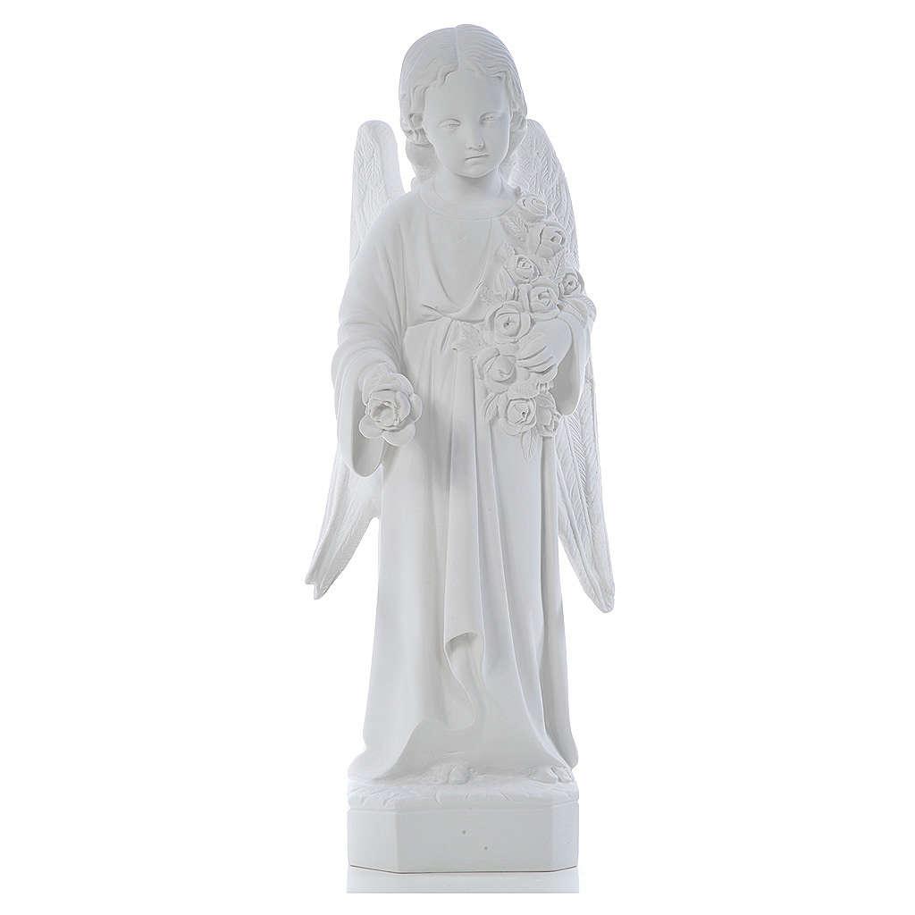 Ángel con rosas 60cm mármol blanco 4