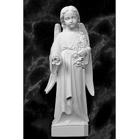 Ángel con rosas 60cm mármol blanco s1
