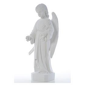 Ángel con rosas 60cm mármol blanco s7