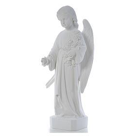 Ángel con rosas 60cm mármol blanco s3