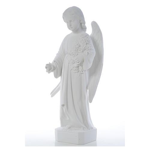 Ángel con rosas 60cm mármol blanco 7