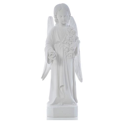 Ángel con rosas 60cm mármol blanco 2