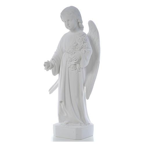 Ángel con rosas 60cm mármol blanco 3