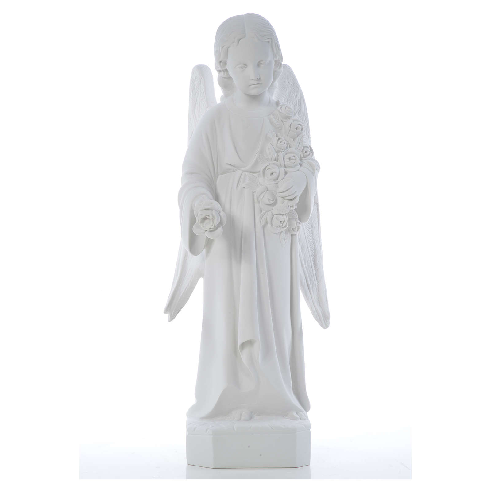 Angel with long wings, 60 cm statue in composite marble 4