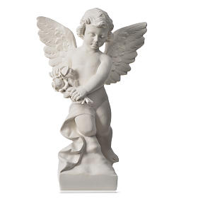 Angel with rose, reconstituted carrara marble statue 60 cm s5