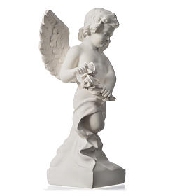 Angel with rose, reconstituted carrara marble statue 60 cm s6
