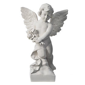 Angel with rose, reconstituted carrara marble statue 60 cm s1